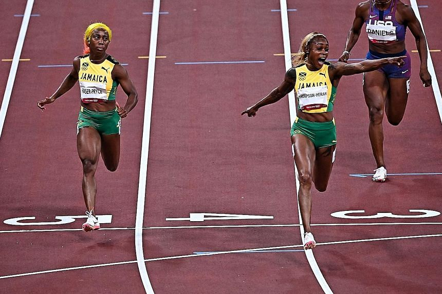 Jamaican Elaine Thompson-Herah had started to celebrate back-to-back Olympic 100m wins even before crossing the finishing line ahead of two-time winner Shelly-Ann Fraser-Pryce, bronze medallist Shericka Jackson and fourth-placed Marie-Josee Ta Lou fr