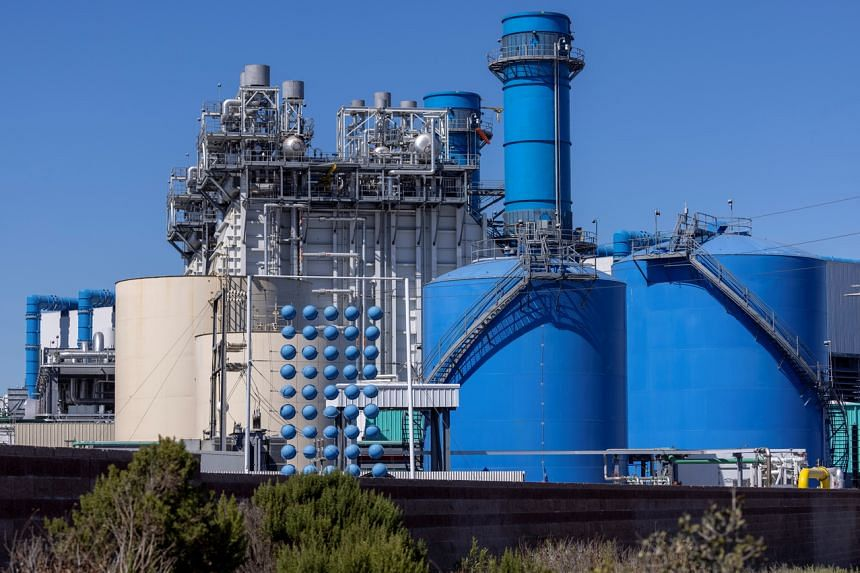 A natural gas power generating plant is shown in Huntington Beach, California on June 24, 2021.