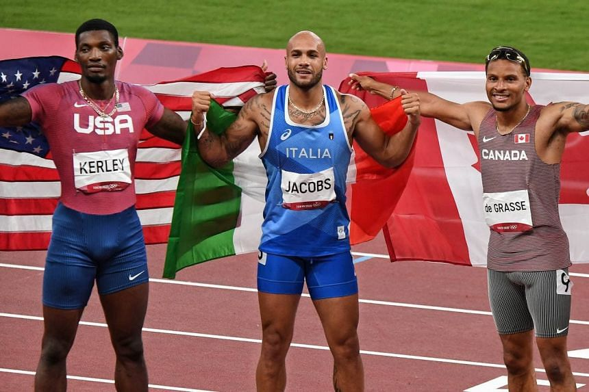 (From left) US' Fred Kerley, Italy's Lamont Marcell Jacobs and Canada's Andre de Grasse.