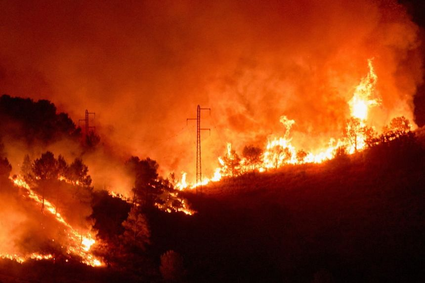 Flames rise during a forest fire that started in Massis del Montgri area, in Girona, Catalonia, Spain, on July 22, 2021.