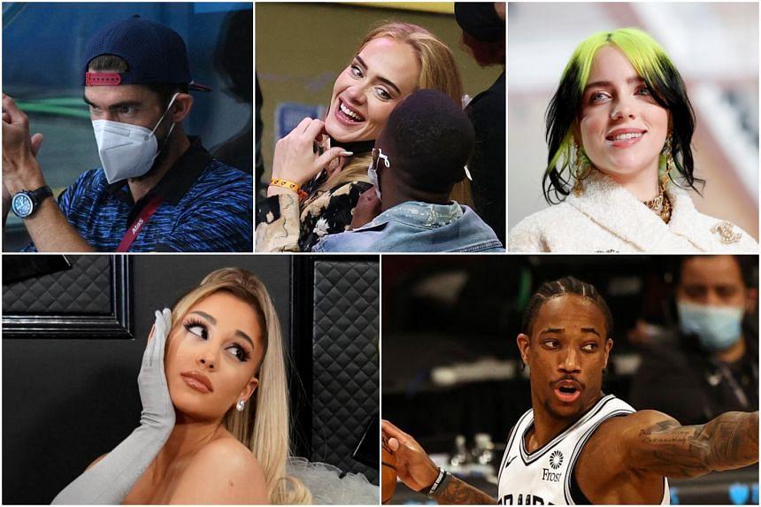 (Clockwise from top left) Michael Phelps, Adele, Billie Eilish, DeMar DeRozan and Ariana Grande.
