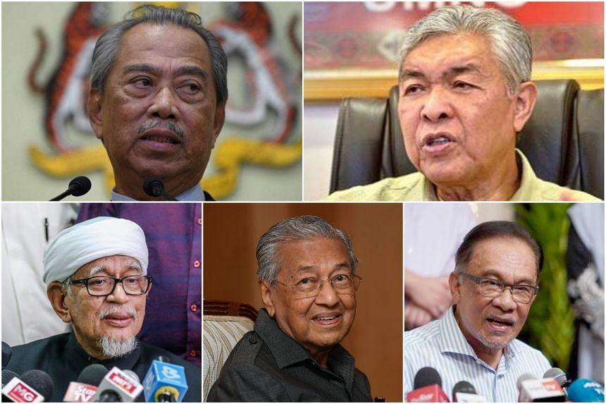 (Clockwise from top left) Malaysian Prime Minister Muhyiddin Yassin, Umno president Ahmad Zahid Hamidi, opposition leader Anwar Ibrahim, former Malaysian prime minister Mahathir Mohamad and PAS president Hadi Awang.