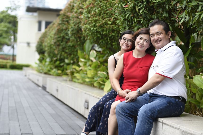 (From right) Mr Tee Meng Kem, Ms Irene Goh Bee Yok and their daughter Tee Yu Tong, who has Type 1 diabetes.