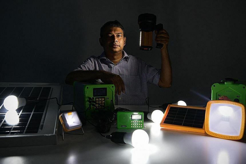 Mr V.S. Hariharan, co-founder and chief executive of Singapore firm Third Wave Power, which is developing technology that provides rural communities with electricity, such as solar-powered bulbs, as well as software that allows villagers to use solar