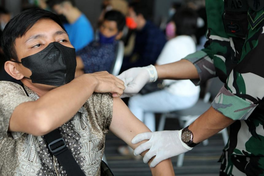 About 8 per cent of Indonesians are fully vaccinated.