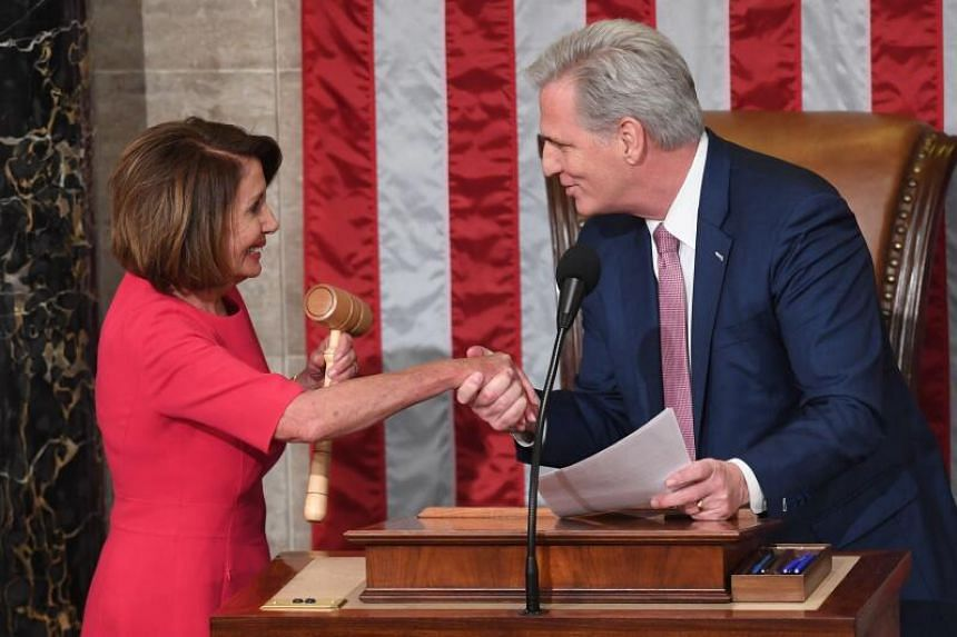 Kevin McCarthy (right) joked that should he become speaker, he would struggle to resist striking Nancy Pelosi with the gavel.