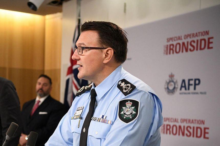 Australian Federal Police Commissioner Reece Kershaw speaks during a media briefing in Sydney, on June 8, 2021.