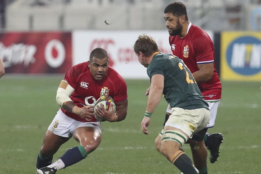 British and Irish Lions prop Kyle Sinckler (left) in action during the second Test match against South Africa on July 31, 2021.