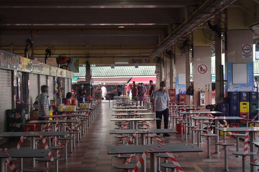 Some food stalls are still closed at Chong Boon Market and Food Centre, on Aug 3, 2021.