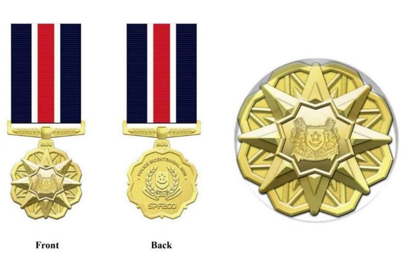 The Singapore Police Bicentennial 2020 medal (left) and medallion will be given out in June 2022.