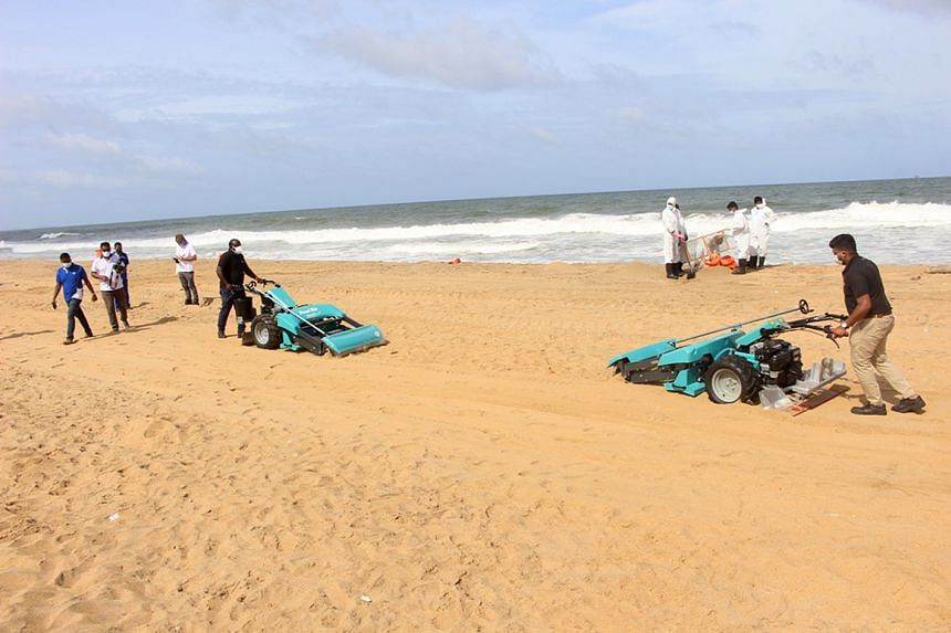 Two beach cleaning machines donated by the Alliance to End Plastic Waste being used to remove plastic nurdles on a beach in Sri Lanka.