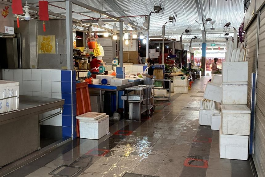 A seafood stall at Teck Ghee Market and Food Centre, on Aug 3, 2021.