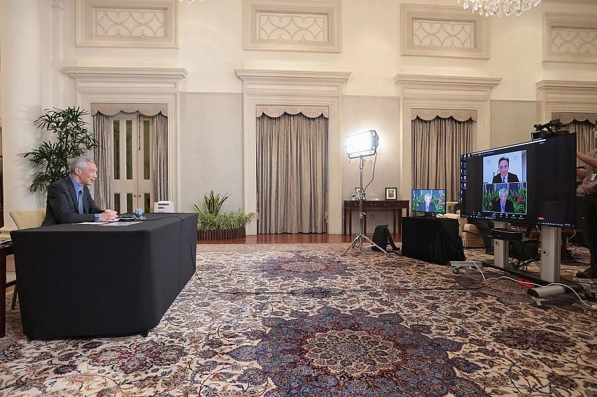 Prime Minister Lee Hsien Loong at the virtual Aspen Security Forum yesterday. PM Lee, who was the keynote speaker at the two-day forum, said the United States is in the region not just to ensure regional security and a balance of power, but also to d