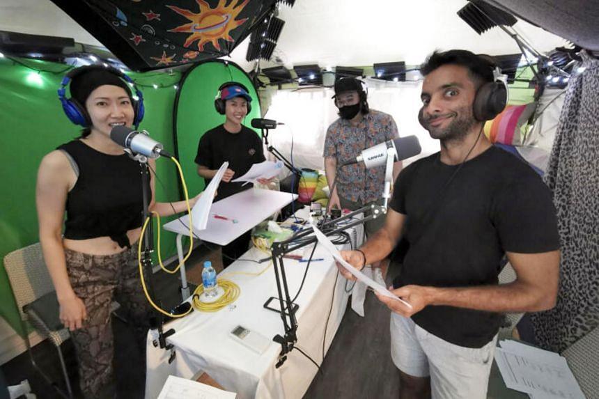 (From left) Jo Tan, Adlina Adil, Terence Chia and Haresh Tilani record Life Exchange.