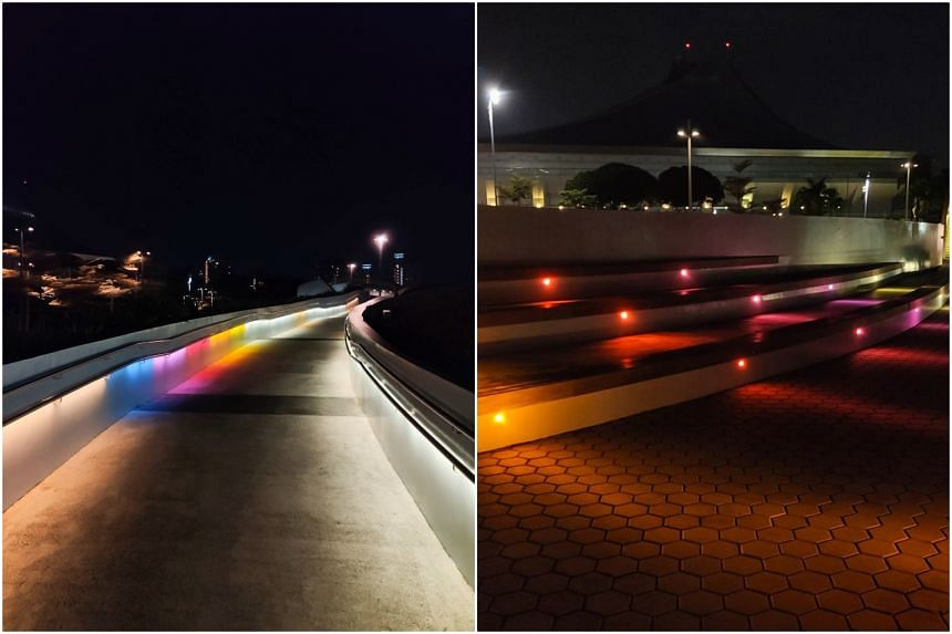 Lee Wei Lieh's colourful light installations can be seen at three locations at the Singapore Sports Hub.