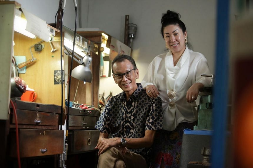 Despite not being Peranakan, jeweller Thomis Kwan runs the business with his Peranakan wife Caroline Tay.