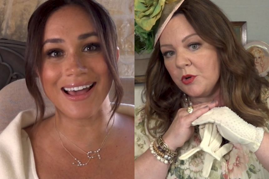 The two-minute video shows the wife of Britain's Prince Harry (left) joking with actress Melissa McCarthy (right).