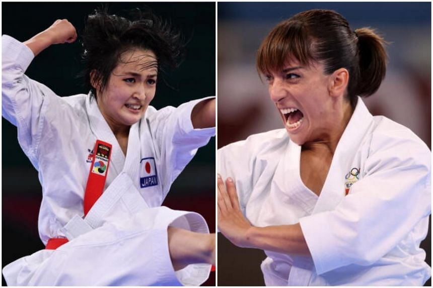 Japan's Kiyou Shimizu (left) and Spain's Sandra Sanchez.