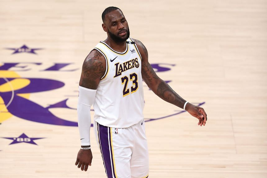 LeBron James looks on during a game against the Phoenix Suns at the Staples Centre on May 30, 2021.