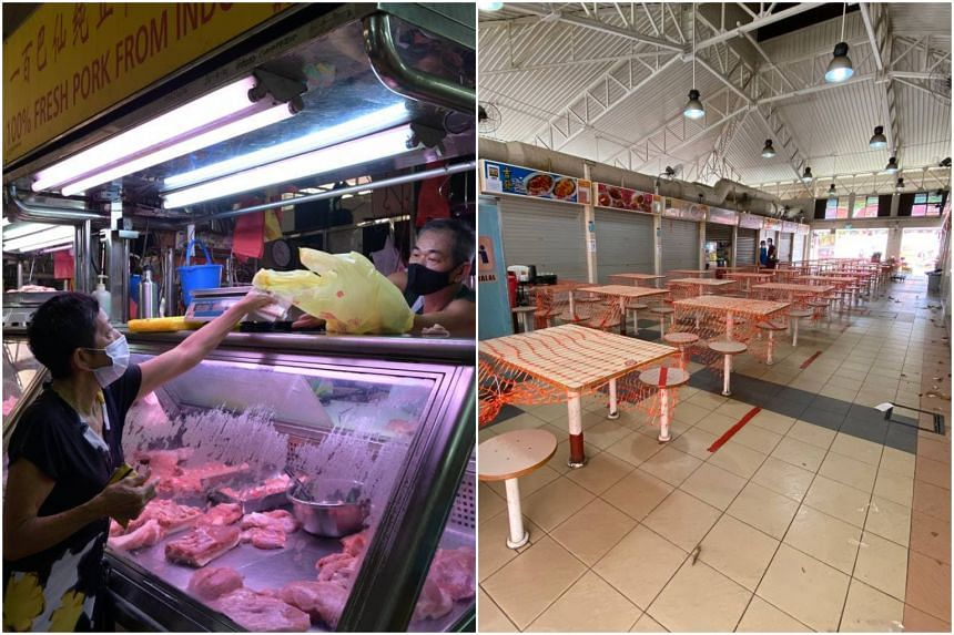 Chong Pang Market (left) and Haig Road Market and Food Centre were closed to the public for two weeks from July 21.