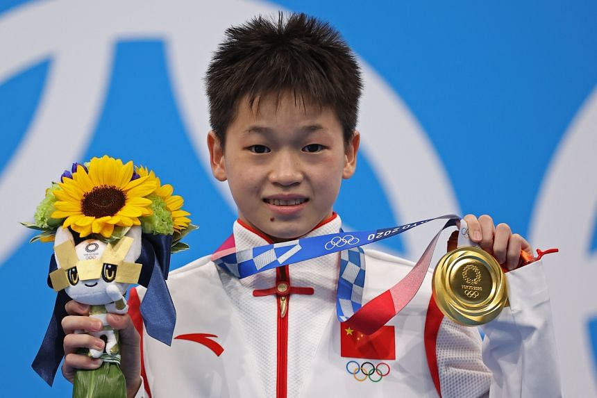 China's Quan Hongchan won gold in the women's 10m platform diving at the Tokyo Olympics on Aug 5.