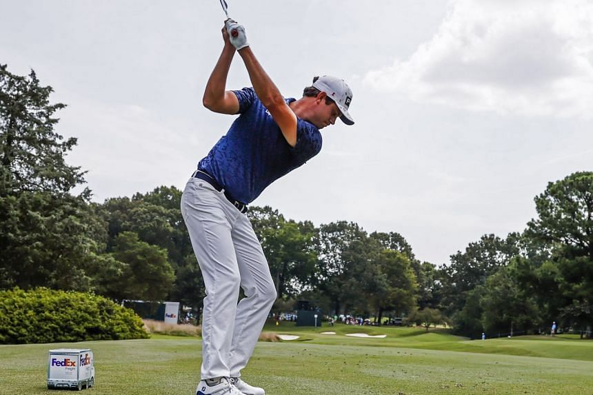Harris English hitting his tee shot on the fourth hole in the first round of the WGC-St Jude Invitational in Memphis, Tennessee, on Aug 5, 2021. He fired an eight-under 62.