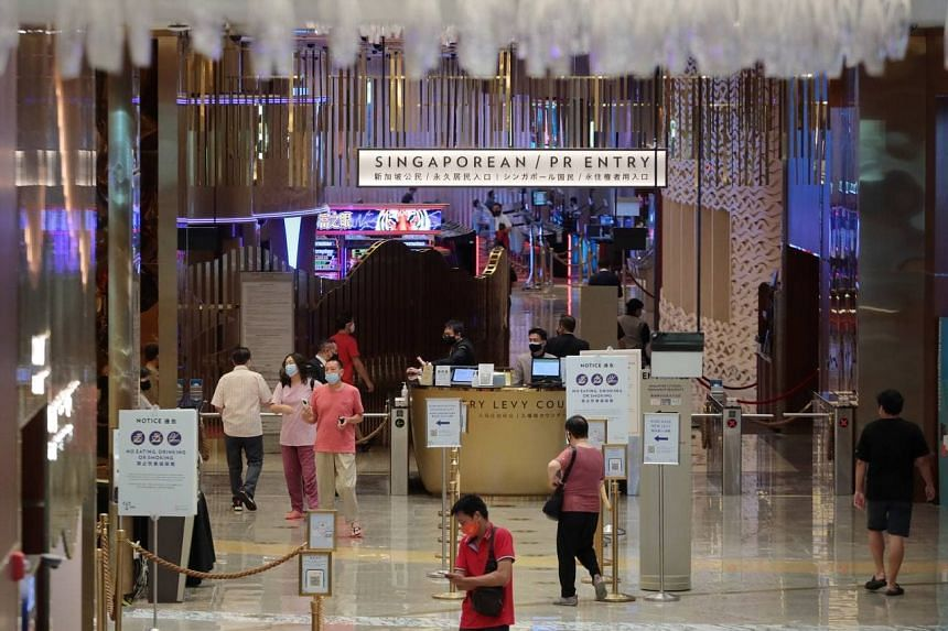 The entrance of the Marina Bay Sands casino at around noon, on Aug 6, 2021.