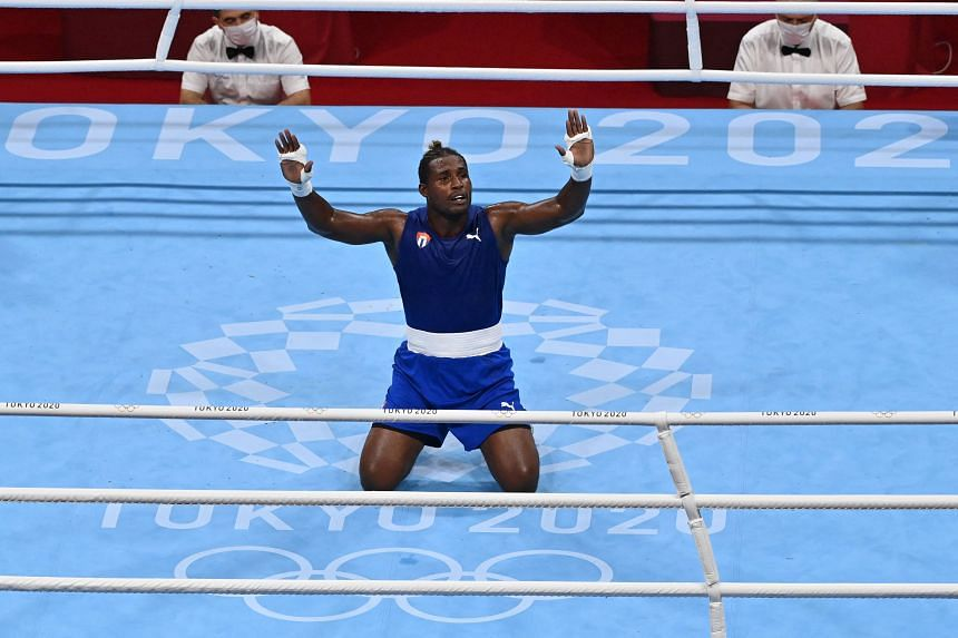 Cuba's Julio la Cruz after his victory in the heavyweight boxing final at the Tokyo Olympics Games on Aug 6, 2021.