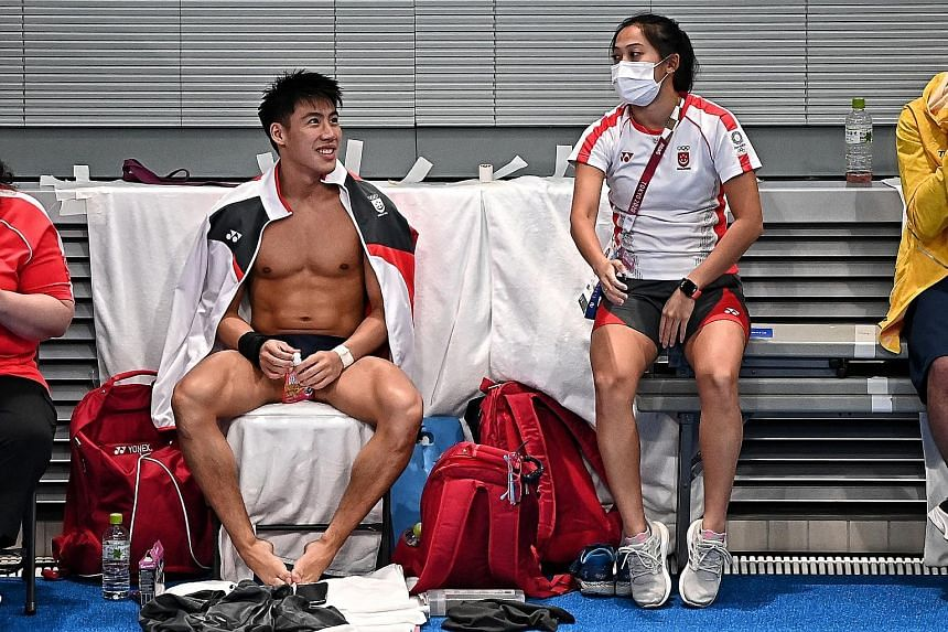 Mr Lee Hsien Loong noted that divers Jonathan Chan (left) and Freida Lim were trailblazers as the country's first Olympic divers. Singapore was also represented for the first time in equestrian (Caroline Chew) and marathon swimming (Chantal Liew).