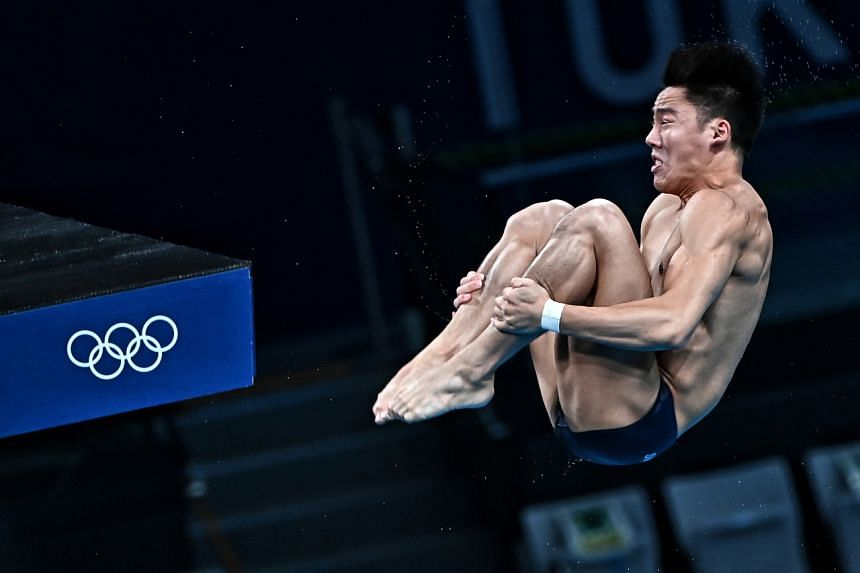 Jonathan Chan competing in the 10m platform at the Tokyo Aquatic Centre in Tokyo, on Aug 6, 2021.
