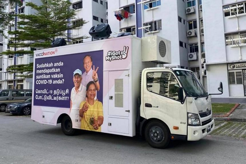 Two trucks will go around heartland areas in the next few weeks to spread messages on Covid-19 vaccination.