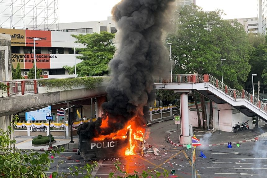 A police truck was set on fire during the protest.