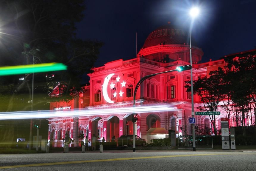 The National Museum lit up to celebrate Singapore's 56th birthday. A workgroup proposes making national symbols more pervasive in people's lives.