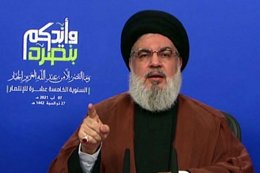 Hezbollah's Hassan Nasrallah delivers a televised speech from an undisclosed location on Aug 7, 2021.
