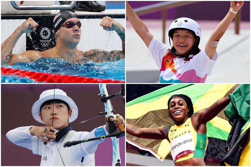 (Clockwise from top left) USA's Caeleb Dressel, Japan's Momiji Nishiya, Jamaica's Elaine Thompson-Herah and South Korea's An San.