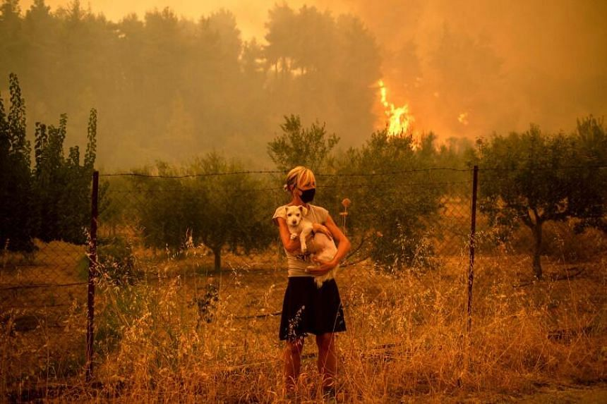 The fires remained out of control over large swathes of Evia island on Aug 8, 2021.