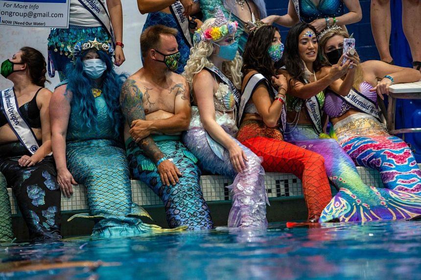 Mermaids and Mermen at the Freedom Aquatic Center in Manassas, Virginia on Aug 7, 2021.