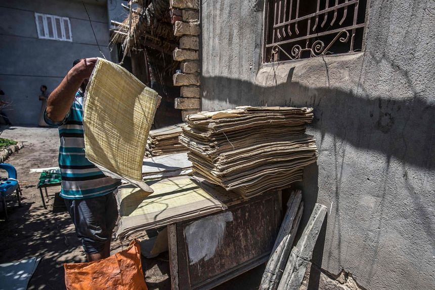 Mr Abdel Mobdi Moussalam dries papyrus sheets at his workshop in the village of al-Qaramous in Sharqiyah province on July 28, 2021.