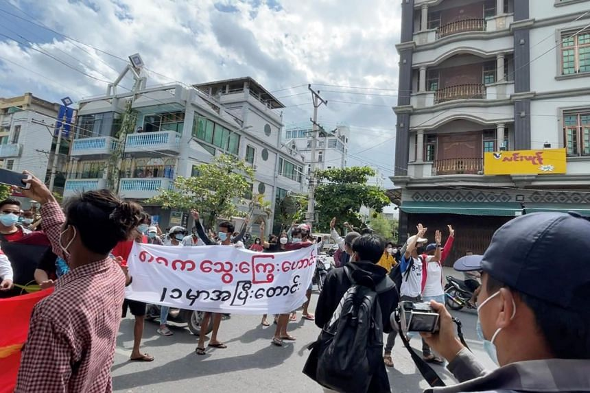 Anti-coup protesters during a march in Mandalay, Myanmar, on Aug 8, 2021, the anniversary of a 1988 uprising.