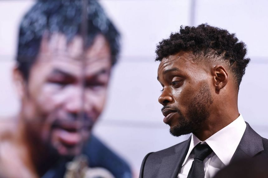 Errol Spence Jr speaks at a press conference with Manny Pacquiao in Los Angeles, California, in July 2021.