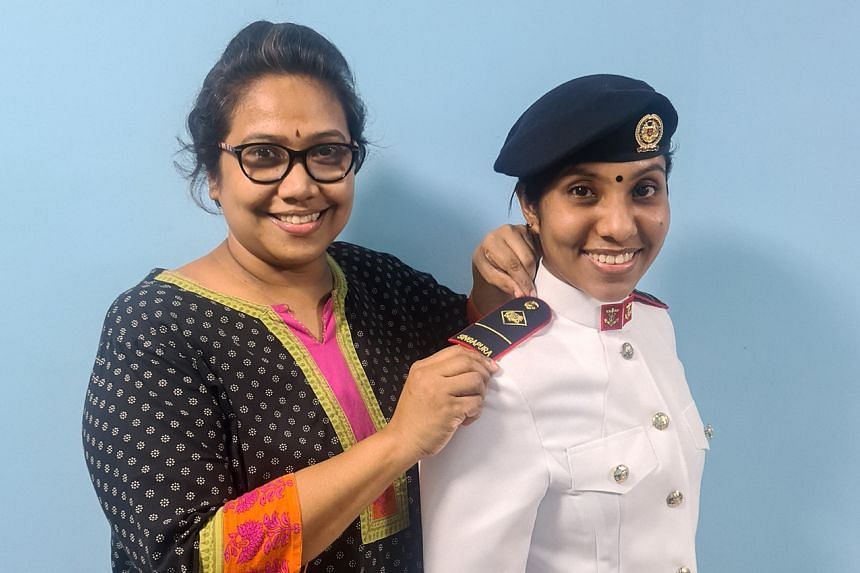 Military Expert Trainee (ME1T) Isswariya Nethagi (right) with her mother.