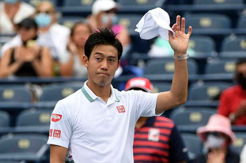 Nishikori (above) said he did not want to risk further injury to a sore shoulder.