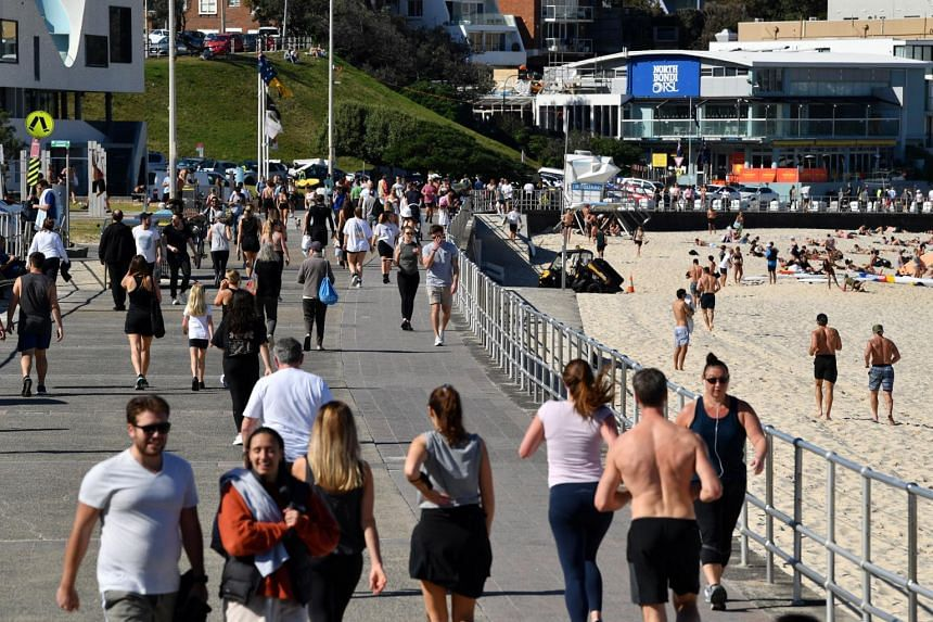 People at Bondi Beach in Sydney, Australia, on Aug 11, 2021.