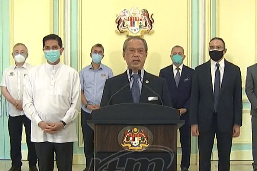 Malaysian Prime Minister Muhyiddin Yassin during his live address on Aug 13, 2021.