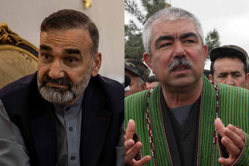 Afghan strongmen Atta Mohammad Noor (left) and Abdul Rashid Dostum had been among the Taleban's fiercest enemies.