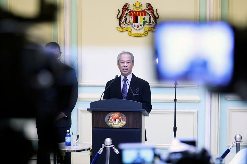 In this file photo, Malaysian Prime Minister Muhyiddin Yassin is seen speaking in Putrajaya, Malaysia, on March 9, 2020.