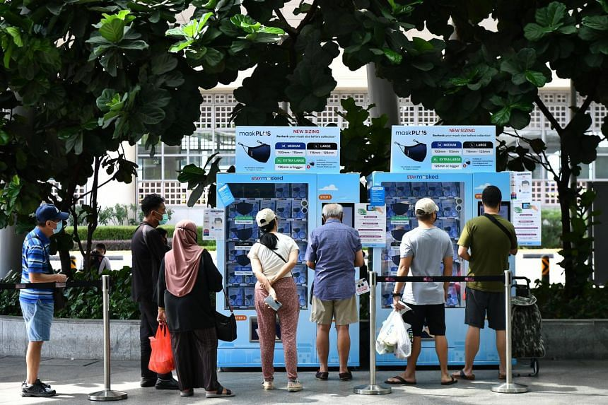 Vending machines where people could use their IC numbers to redeem face masks.
