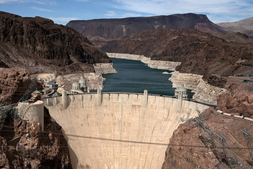 Low water levels due to drought are seen in the Hoover Dam reservoir of Lake Mead near Las Vegas on June 9, 2021.