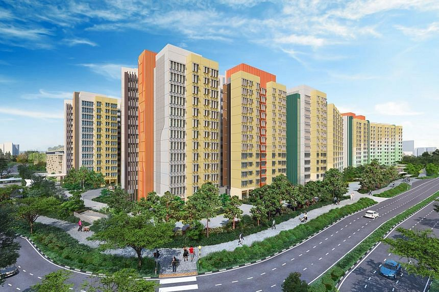 There were 10,602 applicants for the 459 four-room flats in Hougang Citrine (top) and Kovan Wellspring (above) as at 5pm yesterday. This means that only one in more than 17 first-time applicants will get a unit. Second-time applicants face even worse
