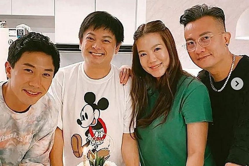 Actress Hong Ling marks her 27th birthday with boyfriend Nick Teo, who cooked her a beef steak. Singer Hong Junyang (left) celebrates his 40th birthday with Mandopop star JJ Lin. (From left) Desmond Tan, Dennis Chew, Rui En and Chen Hanwei celebrate